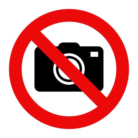 カメラ記号を禁止されています。白い背景で隔離の写真の兆候  イラスト・ベクター素材