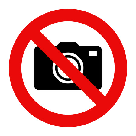 Cameras prohibited sign. No photography sign isolated on white background Ilustrace