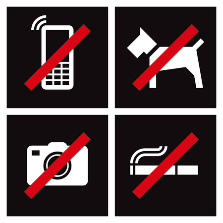 abstain: No Smoking, No Photography, No Dogs, Mobile Phone prohibited Signs isolated on white background
