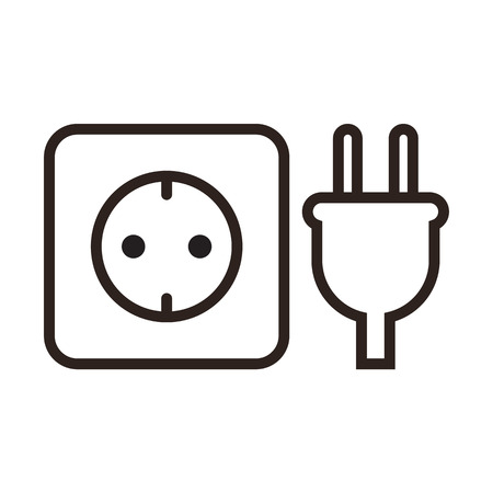 electrical outlet: Plug and socket icon isolated on white background