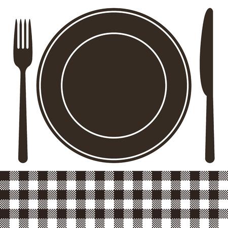 Besteck, Teller Und Tischdecke Muster In Schwarz Und Weiß Lizenzfrei ...
