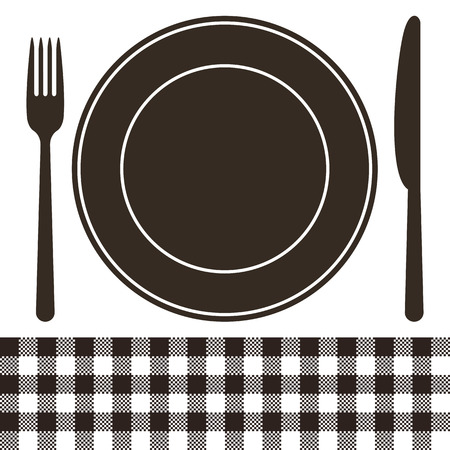 Cutlery, plate and tablecloth pattern in black and white Vector