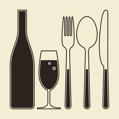wine and food: Bottle, glass of champagne, fork, knife and spoon on light background