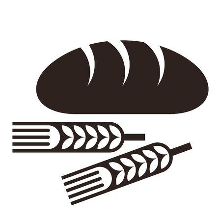 Brood en tarwe oren op een witte achtergrond