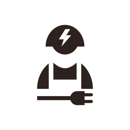 cabling: Electrician icon isolated on white background