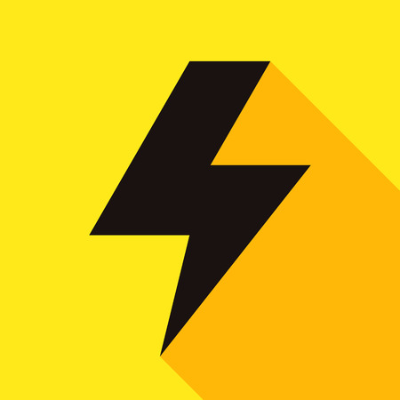 power button: Lightning bolt icon on yellow background