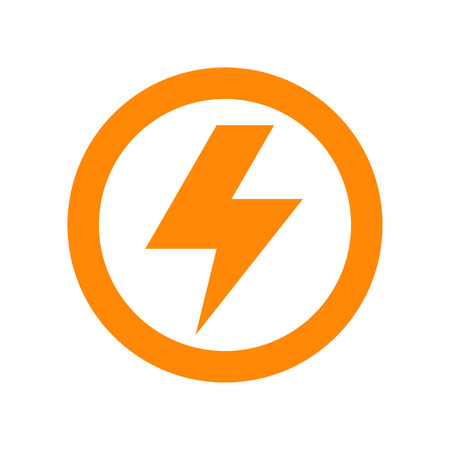 白い背景に分離されたライトニング ボルト記号