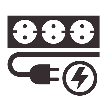 electrical outlet: Power outlet, plug and lightning sign on white background Illustration