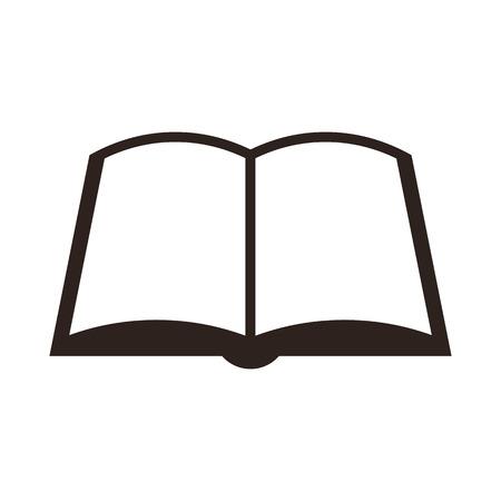 black pictogram: Book icon isolated on white background