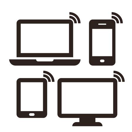 ノート パソコン、携帯電話、タブレット、モニター、ワイヤレス ネットワーク アイコン設定で隔離されたホワイト バック グラウンド