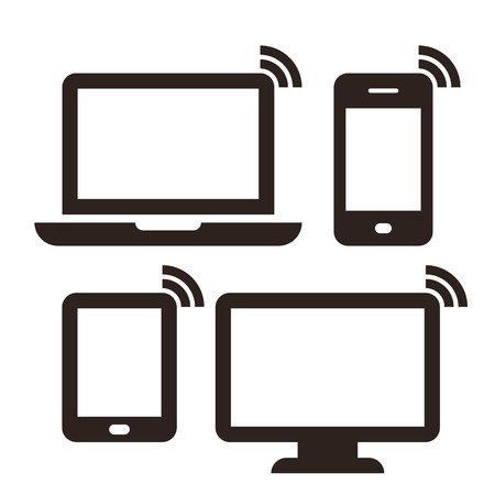 communication icon: Laptop, mobile phone, tablet, monitor and wireless network icon set isolated on white background Illustration