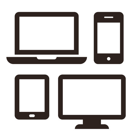 Laptop, mobile phone, tablet and monitor icon set isolated on white background