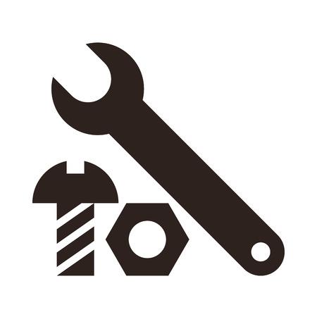 tuercas y tornillos: Llave, tuerca y tornillo icono aislados sobre fondo blanco
