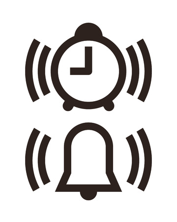 awaken: Clock and alarm icon isolated on white background