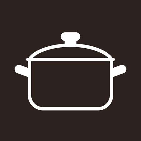 Cooking pot symbol on dark background