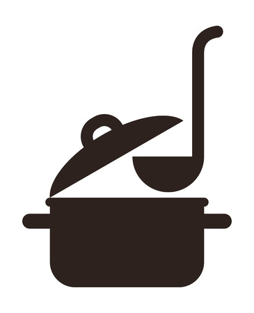 stew pan: Cooking pot and ladle isolated on white background Illustration