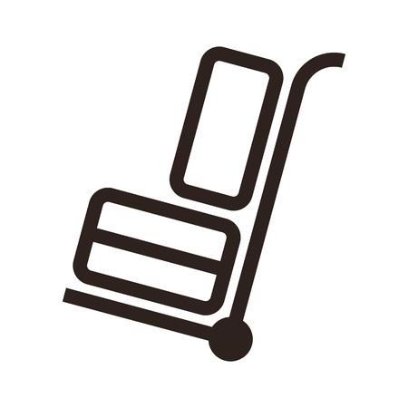 hand cart: Carro de la mano con el equipaje - viaje icono aislado en fondo blanco