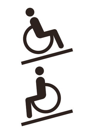 wheel chair: Disabled sign - Facilities for disabled isolated on white background