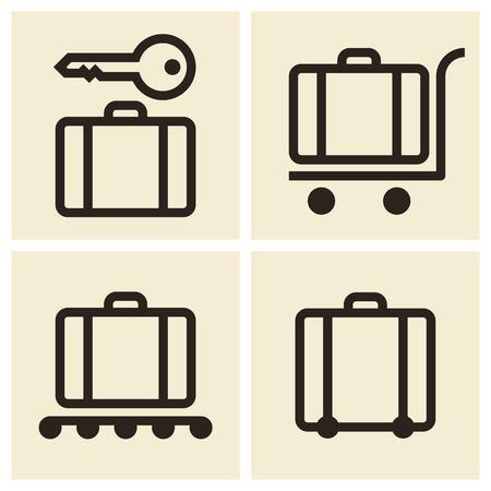 Baggage cart, Suitcase, Baggage claim, Baggage storage - travel icons set