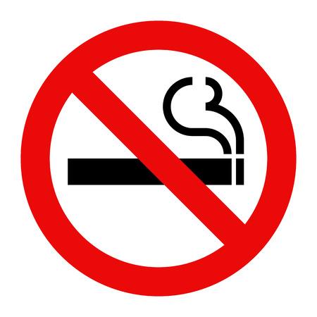 Muestra de no fumadores. Fumar símbolo prohibido aislado en fondo blanco Vectores