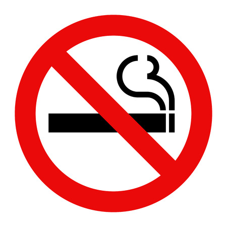 smoldering cigarette: No smoking sign. Smoking prohibited symbol isolated on white background