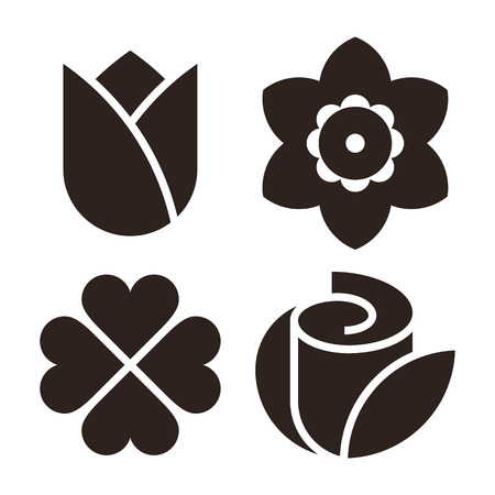 petal: Flower icon set - tulip, narcissus, clover and rose isolated on white background