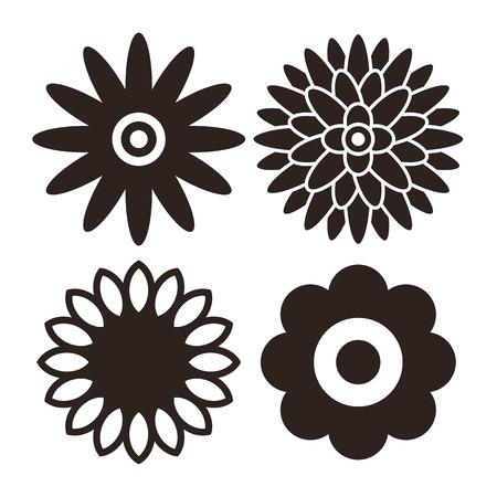 marguerite: Fleur icon set - gerbera, chrysanth�me, tournesol et daisy isol� sur fond blanc