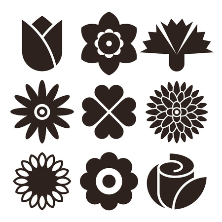 Flower icon set isolated on white background