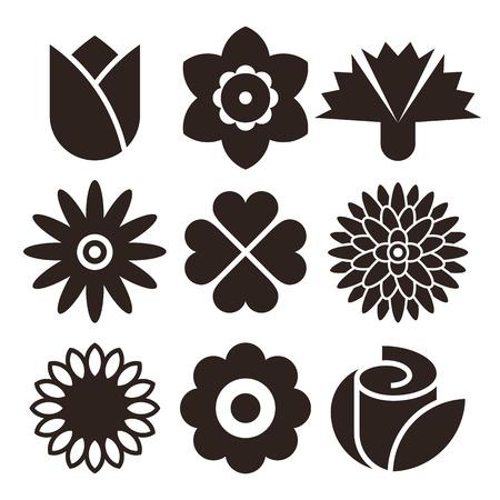 Flower icon set isolated on white background