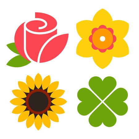 jardines con flores: Flor icono conjunto - rosa, narciso, girasol y tr�bol aisladas sobre fondo blanco