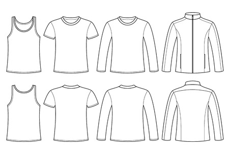 Singlet, T-shirt, Long-sleeved T-shirt and Jacket template - front and back isolated on white background