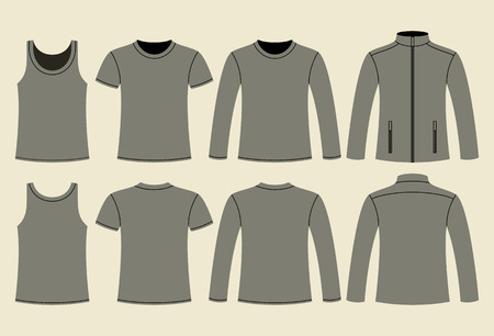t shirt printing: Singlet, T-shirt, Long-sleeved T-shirt and Jacket template - front and back on light background Illustration