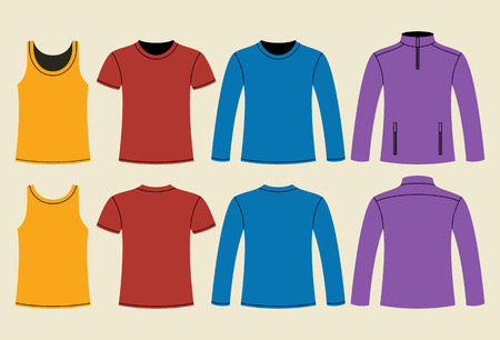 t shirt blouse: Singlet, T-shirt, Long-sleeved T-shirt and Jacket template - front and back on light background Illustration