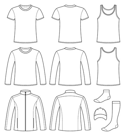 shirt sleeves: Singlet, T-shirt, Long-sleeved T-shirt, Jacket, Socks and Cap template - front and back isolated on white background