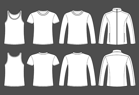 man t shirt: Singlet, T-shirt, Long-sleeved T-shirt and Jacket template - front and back on dark background Illustration