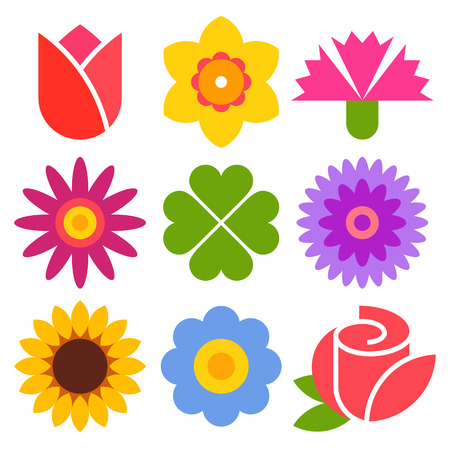 Colorful flower icon set isolated on white background