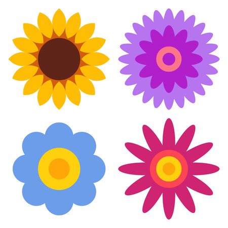 marguerite: Fleur icon set - tournesol, chrysanth�me, marguerite de gerber et isol� sur fond blanc Illustration