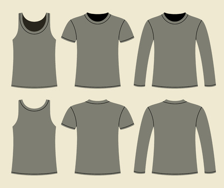 singlet: Singlet, T-shirt and Long-sleeved T-shirt template - front and back on light background Illustration