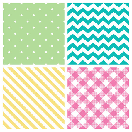 zig zag: Seamless abstract pattern set  - vector backgrounds Illustration
