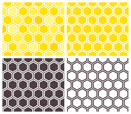 Honeycomb seamless pattern set. Abstract geometric background Ilustração
