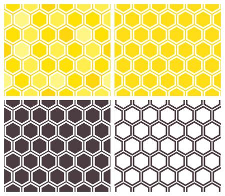 honeycombs: Honeycomb seamless pattern set. Abstract geometric background Illustration