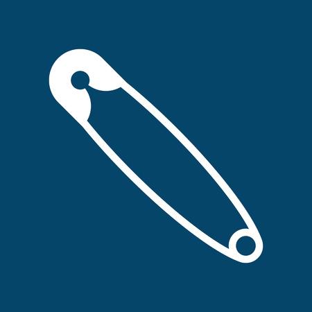 Sicherheitsnadel-Symbol auf blauem Hintergrund