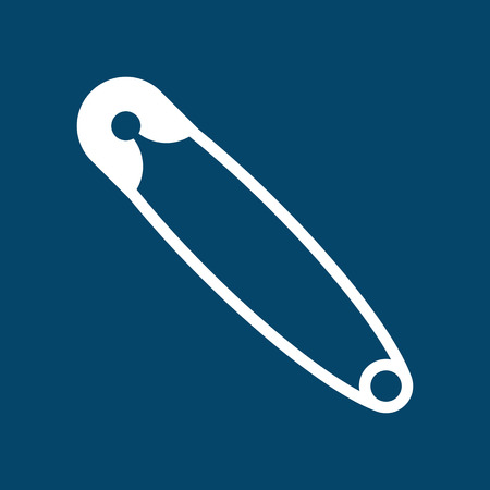 Safety pin symbol on blue background