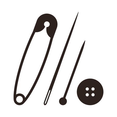 Contacto de seguridad, aguja, alfiler y botón aislados en fondo blanco