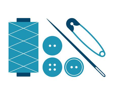 haberdashery: Sewing equipment and needlework set isolated on white background