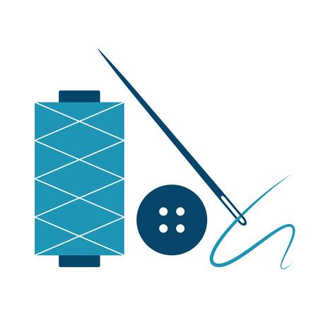 haberdashery: Needle, thread and button isolated on white background Illustration
