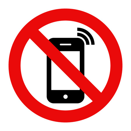 no cell phone: Mobile Phone prohibited. No cell phone sign isolated on white background