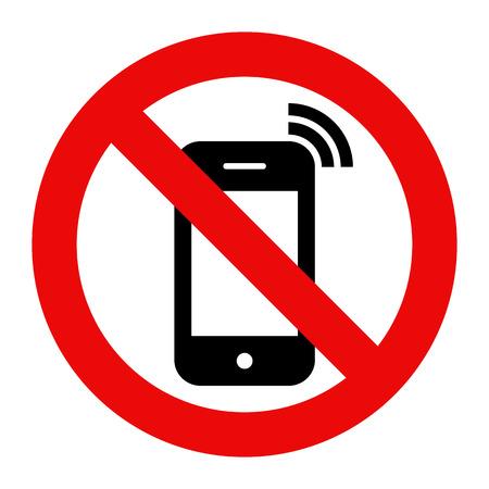 no cell: Tel�fono M�vil prohibido. Ninguna se�al de tel�fono celular aislado en el fondo blanco