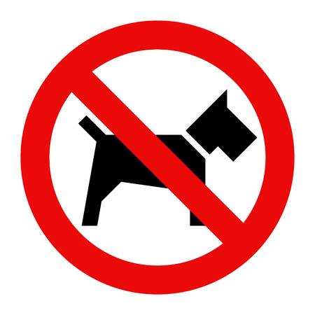No hay perros signo aislado sobre fondo blanco