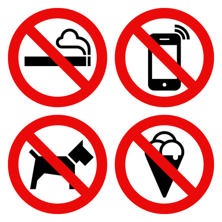 No smoking, No cell phone, No dogs and No eating prohibited signs isolated on white background Illustration